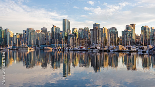 Skyline of Vancouver, BC, Canada from harbor at sunset