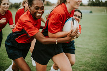 Women Playing Rugby
