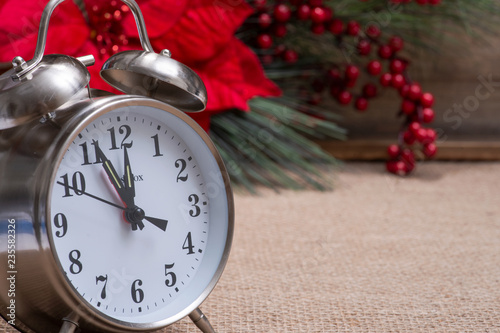 Fotografie, Obraz  Winter holiday decoration, Christmas and New Year concept with alarm clock: Bloo