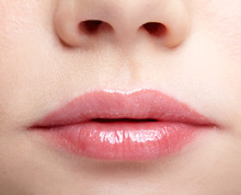 Closeup Macro Portrait Of Female Part Of Face. Human Woman Lips With Day Beauty Makeup