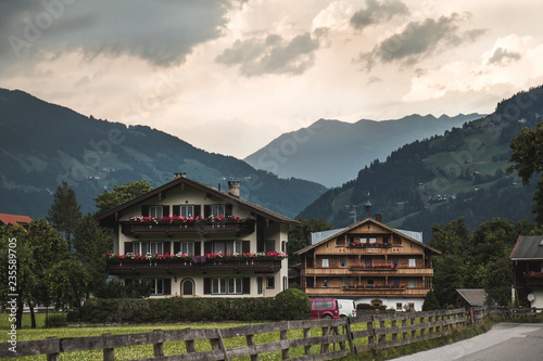 Wall Murals Alps Houses in the Alps Austria