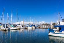 Moss Landing Marina In Monterey Bay On A Sunny Day, California