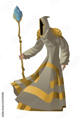 Photo monk wizard with magical staff