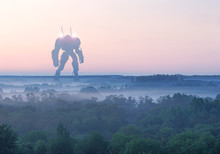 Sci-fi Military Giant Battle Machine. Humanoid Robot In Apocalypse Countryside. Dystopia, Science Fiction, Mech And Combat Technology Concept.
