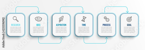 Vector infographic template with icons and 6 options or steps Canvas Print