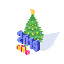 Christmas, New Year Isometric Icon. Vector Illustration