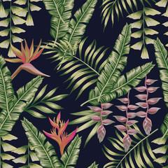 Fototapeta Liście Tropical jungle seamless pattern black background