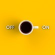 Top view of a cup of coffee isolated on yellow background, Coffee concept illustration, 3d rendering