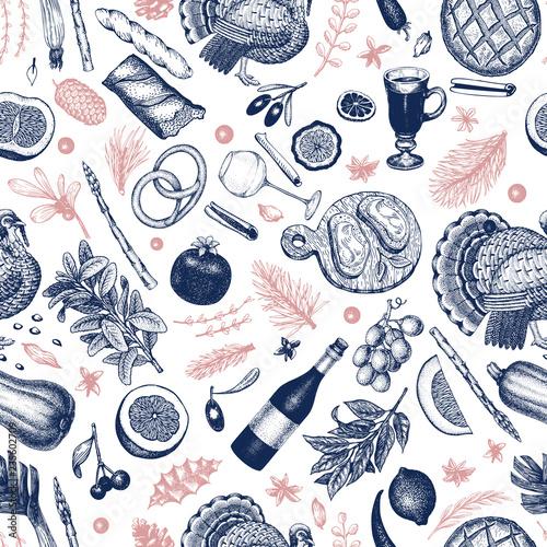 swiateczny-obiad-wzor-ilustracje-wektorowe-recznie-rysowane-szczesliwego-bozego-narodzenia-obiad-retro-projekt-tlo-ze-zbiorow-warzywa-ciasta-piekarnia-mieso-z-indyka