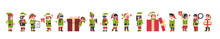 Mix Race Elves Girl Boy Santa Claus Helper Standing Together Different Poses Merry Christmas Holiday New Year Concept Flat Isolated Horizontal Banner Vector Illustration