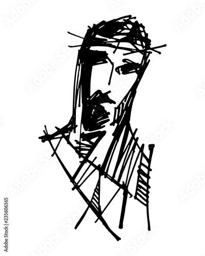 Photo sur Toile Art Studio Jesus Christ at his Passion illustration