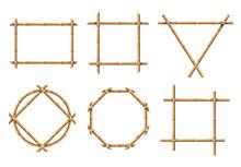 Bamboo Frames. Wood Stick Bann...