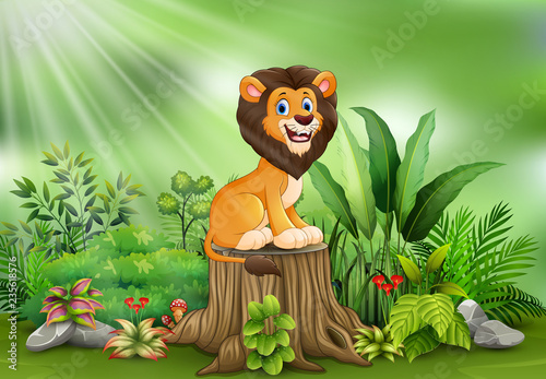 Aluminium Prints Ladybugs Happy cartoon lion sitting on tree stump with green plants