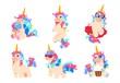 Cartoon unicorns. Cute magic unicorn set. Fantasy baby horse adorable honey vector animals. Illustration of magic unicorn myth, pony flying