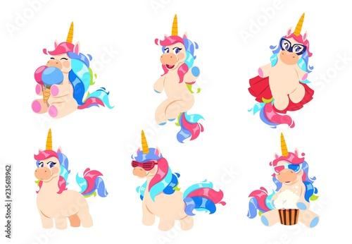 Fotografie, Obraz Cartoon unicorns