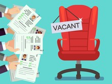 Hands Holds CV Forms And Office Chair With Vacancy Plate. Illustration Of Vacant Chair Place, Hold Cv Vector