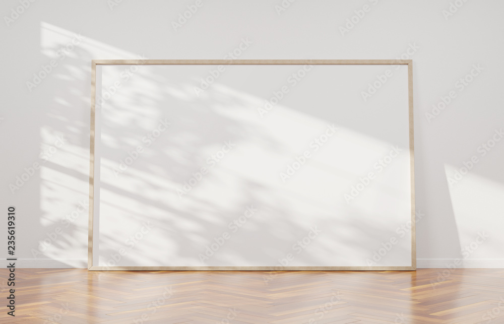 Fototapety, obrazy: Large horizontal frame leaning on a white wall 3D rendering