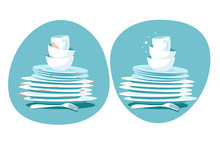 Clean And Dirty Dishes. Kitchen Plates Before And After Washing. Kitchen Utensils Wash Vector Concept. Dirty Plate Dish, Unwashed, Dinnerware Illustration
