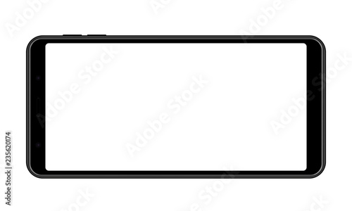 Cellphone with blank screen - horizontal front view Fototapeta