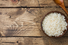 White Boiled Rice In A Wooden ...