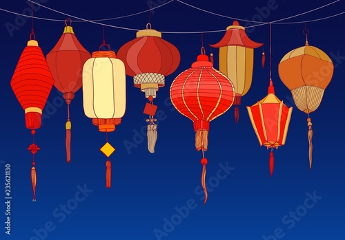 Decorative background with Chinese red paper street lanterns of various shapes and sizes Wallpaper Mural