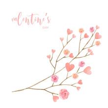 Love Valentine's Day Watercolor Vector Illustration.