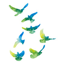 Vector, Isolated, Watercolor Dove Silhouette, Flock Of Birds Fly