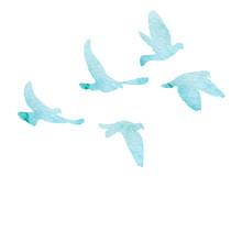 Flock Of Flying Birds, Watercolor Blue Silhouette