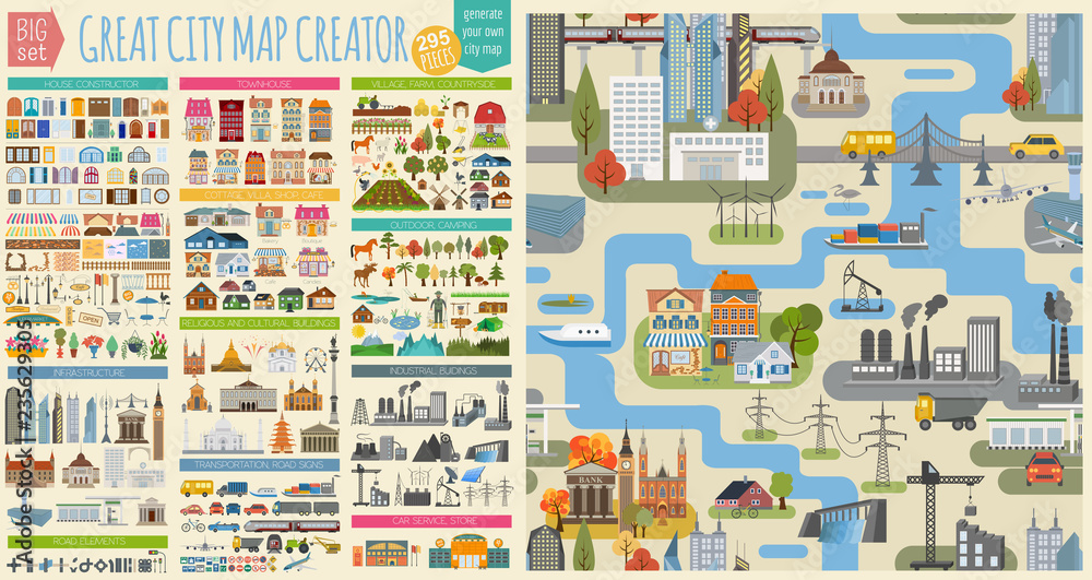 Fototapety, obrazy: Great city map creator.Seamless pattern map and  Houses, infrastructure, industrial, transport, village and countryside set. Make your perfect city