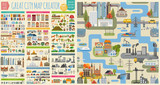 Fototapeta City - Great city map creator.Seamless pattern map and  Houses, infrastructure, industrial, transport, village and countryside set. Make your perfect city