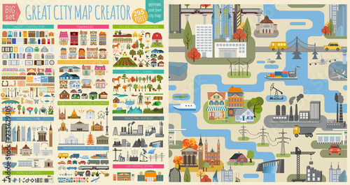 Great city map creator.Seamless pattern map and  Houses, infrastructure, industrial, transport, village and countryside set. Make your perfect city