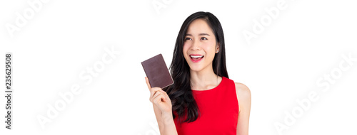 Keuken foto achterwand Aziatische Plekken Beautiful smiling Asian woman holding passport isolated on white banner background
