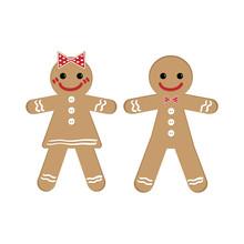 Gingerbread Man And Woman On Christmas Theme.