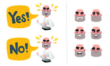 Set Of Male Facial Emotions. Bearded Bald Man Emoji Character With Different Expressions. Business Man Shouting Yes Or No. Bright Speech Bubble For Your Design. Vector Illustration In Cartoon Style