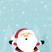 Santa Enjoying Snow Close Up