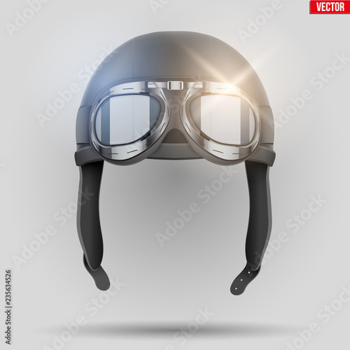 Obraz na plátně Retro aviator helmet with goggles