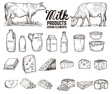 Set Of Hand Drawn Milk Product...