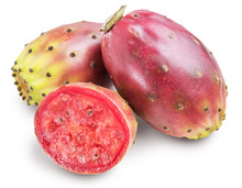 Prickly Pears Or Opuntia Fruits On White Background. Clipping Path.