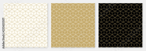 Stampa su Tela Background pattern seamless cube abstract gold luxury color geometric vector