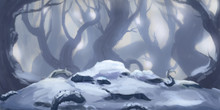 Snow Forest. Fiction Backdrop....