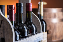 Wine Bottles In Wooden Crate A...