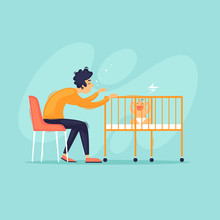 Tired Man Shakes His Crib With A Baby. Flat Vector Illustration In Cartoon Style.