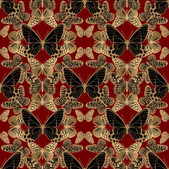 Fototapeta Vintage Seamless pattern. Illusion ornament with gold and black butterflies on red background