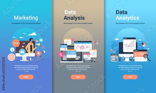 Fotografía  web design template set for marketing data analysis and data analytics concepts