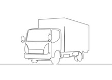 Truck With Cargo Trailer Driving