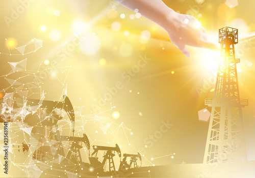 Oil derrick industrial machine for drilling Canvas Print