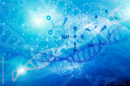 Fotografering  Abstract background with molecule DNA structure