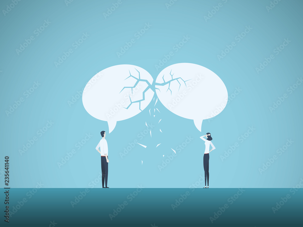 Fototapeta Business communication breakdown vector concept. Symbol of misunderstanding, negotiation problems, miscommunication, argument.