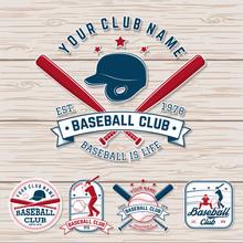 Set Of Baseball Or Softball Club Badge. Vector. Concept For Shirt Or Logo, Print, Patch, Stamp. Vintage Typography Design With Baseball Bats, Batter Hitting Ball And Ball For Baseball Silhouette.