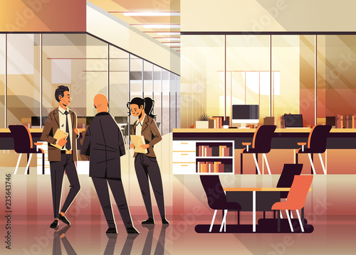 business people communicating concept modern coworking office interior creative workplace male female cartoon character full length horizontal flat